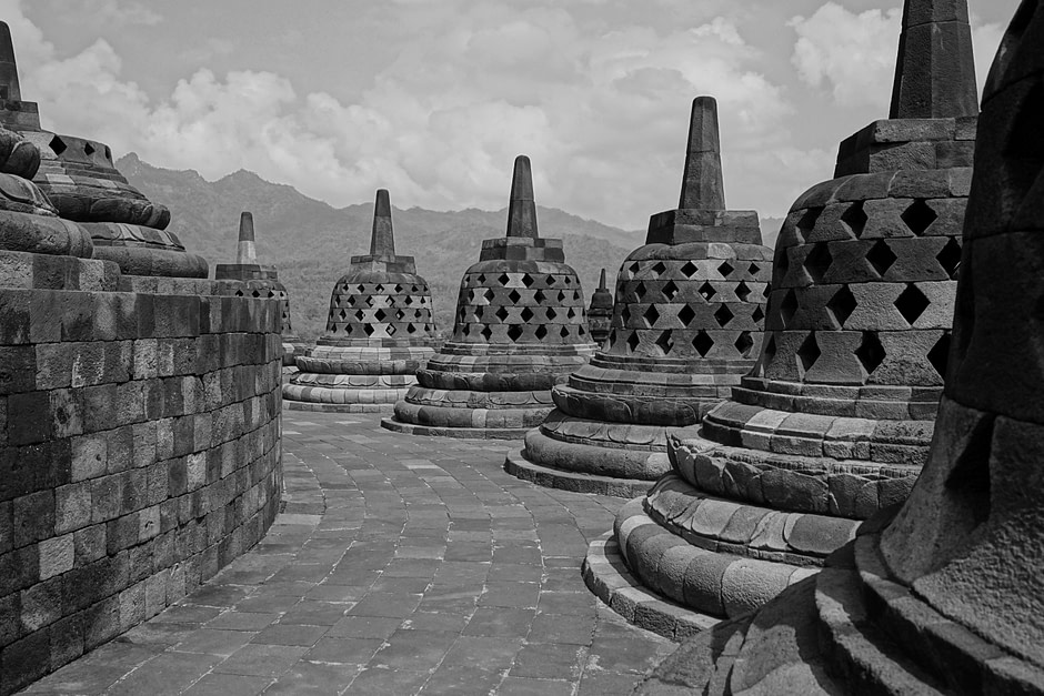Bell-shaped stupas / Borobudur